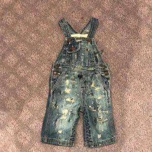 Other - Custom distressed denim jeans overalls